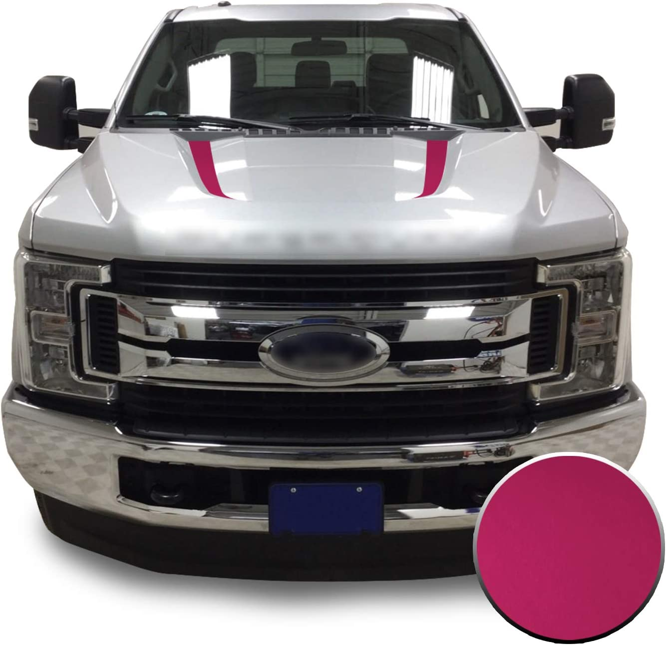 Optix Hood Spears Stripes Vinyl Decal Overlay Wrap Trim Inserts Sticker Compatible with and Fits Super Duty F250 F350 F450 2017 2018 2019 Metallic Matte Chrome Black