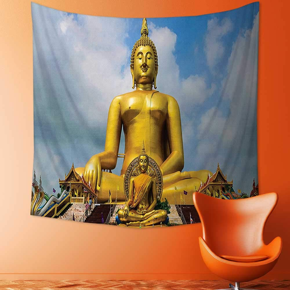 Tapestry Wall Hanging The Biggest Golden Indian Statue at The Temple in Thai Oriental Sage Asian Home Decorations for Bedroom Dorm