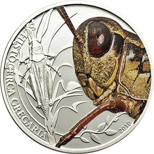 2010 PW World Of Insects PowerCoin GRASSHOPPER Silver Coin 2$ Palau 2010 0.5 Oz Proof (Ounce 0.5 Silver Coin)