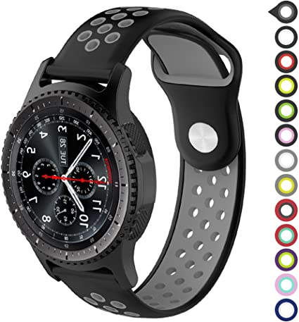 Gear S3 Bands,Meifox Soft Silicone Replacement Band for Samsung Gear S3 Frontier/Classic Smart Watch,Also for Huawei Watch 2 Classic Smartwatch(22mm) ...
