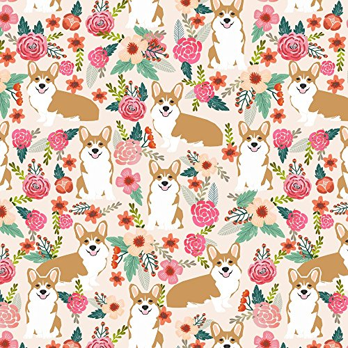 Dog Fabric - Corgi Florals Pet Dog Welsh - Pet Friendly Fabric Shopping Results