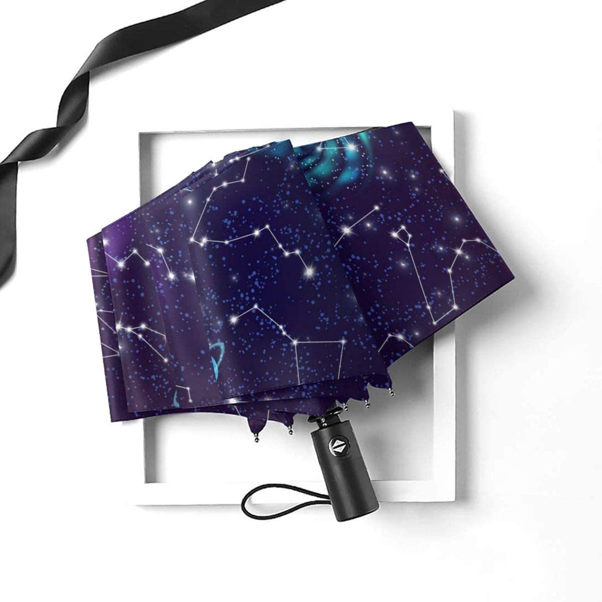 Space Constellation Purple Background Compact Travel Umbrella Windproof Reinforced Canopy 8 Ribs Umbrella Auto Open And Close Button Customized