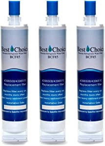 Best Choice Water Filters BCF85 Replacement Refrigerator Water Filter for Whirlpool 4396508 and 4396510, 3 Pack