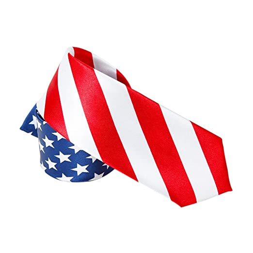 cddb3747657 Amzcoice Classic American Flag Necktie USA Flag US Patriotic Neck Tie (168)