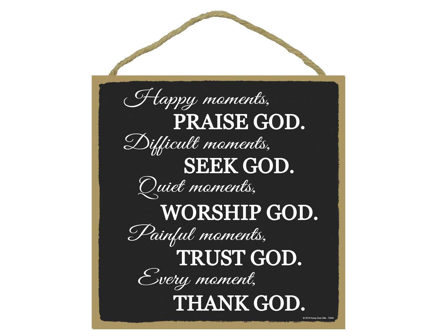Honey Dew Gifts Christian Wall Decor, Praise, Seek, Worship, Trust, Thank God 10 inch by 10 inch Hanging Wood Sign, Home…