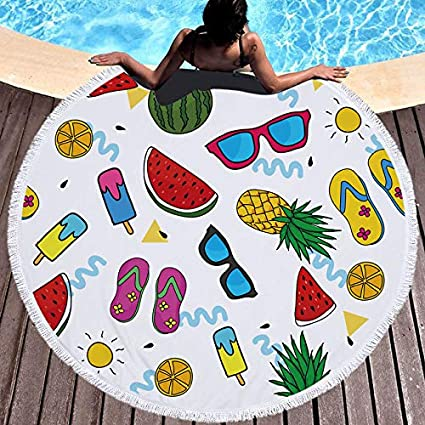 Amazon.com: WLEZY Beach Towel Ice Cream Watermelon ...