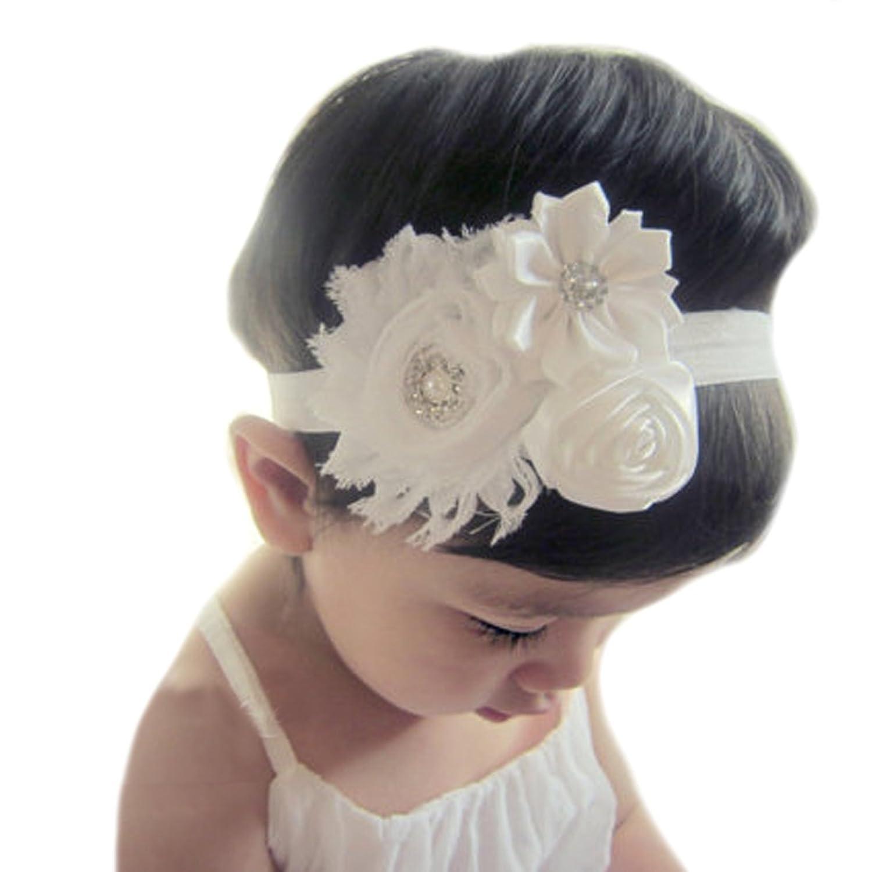 Miugle Baby Girls Rhinestone Flower Headbands Baby Baptism Headbands by Miugle