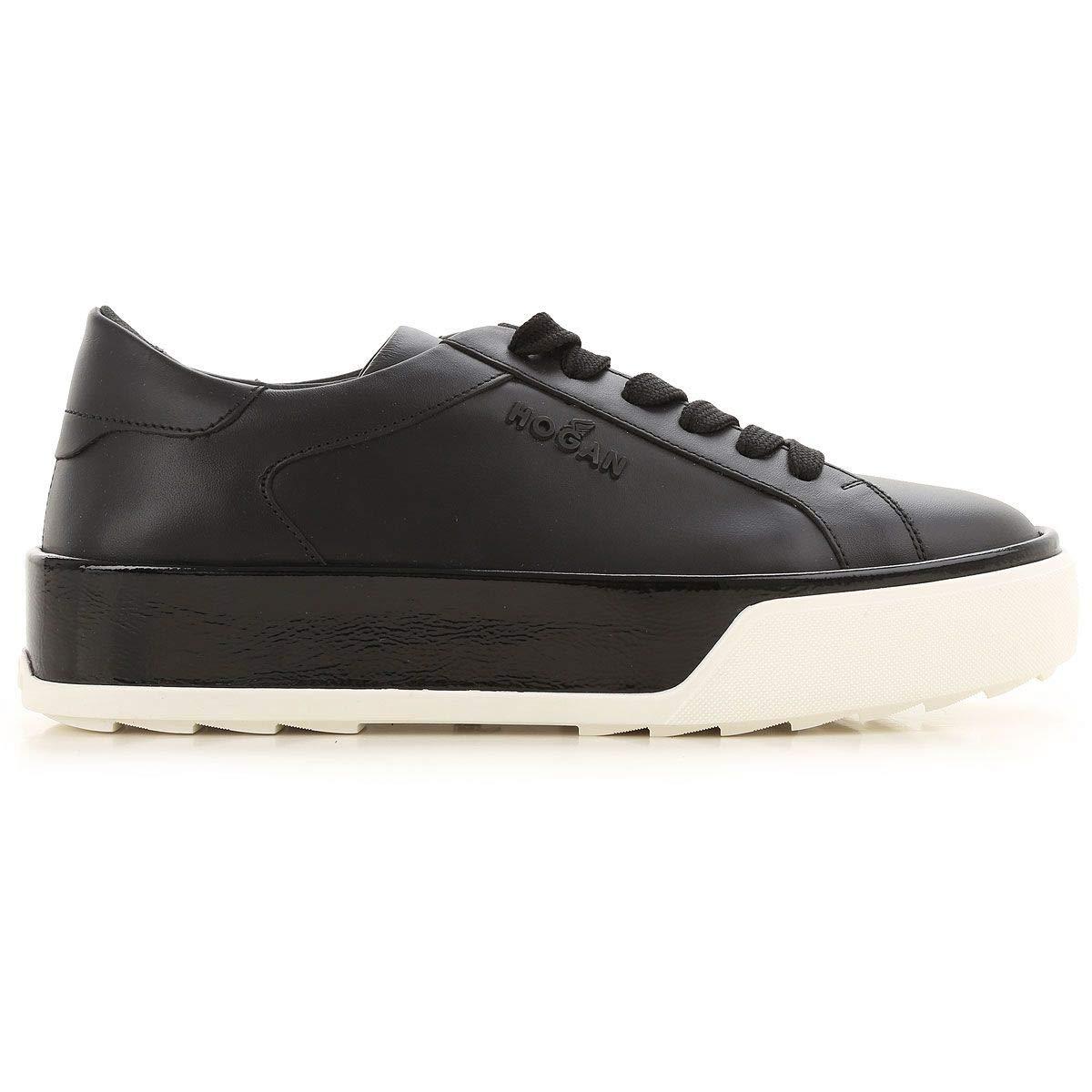 - Hogan Women's HXW3200AG80JCWB999 Black Leather Sneakers