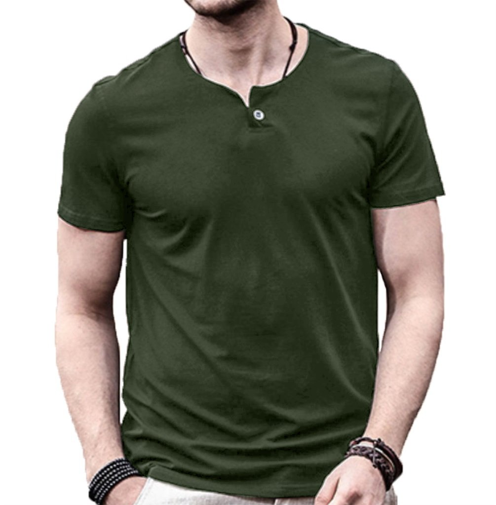 Aiyino Mens Summer Casual Slim Fit Single Button Short Sleeve Placket Plain Henley Top T Shirts XL Army Green