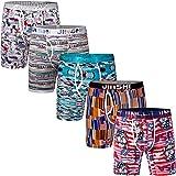 JINSHI Mens Underwear 5 Pack Soft Flexible Bamboo Trunks Active Long Leg Boxer Briefs Size Large
