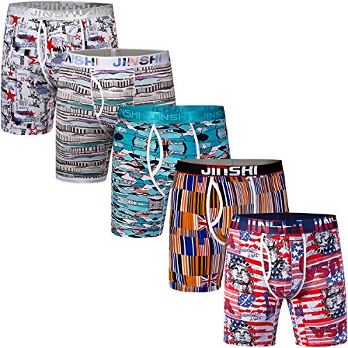 Briefs Boxer Bamboo (JINSHI Mens Underwear 5 Pack Soft Flex Bamboo Trunks Active Long Leg Boxer Briefs Size Large)