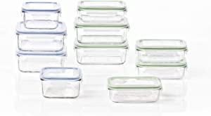 Glasslock Classic 20 Piece Clear Tempered Glass Microwave, Dishwasher, Freezer, and Fridge Safe Food Storage Container Set with BPA Free Plastic Lids