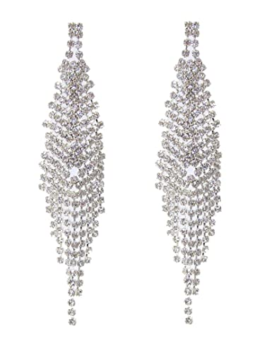 a8933cabd7bc Image Unavailable. Image not available for. Color  Fancy Rhinestone Dangle  Earrings C24 Multi Line Drop Clear Crystals Silver Tone