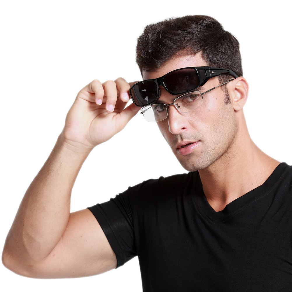 Duco Mens Wear Over Prescription Glasses Polarized Sunglasses 8953 Plus Size Black