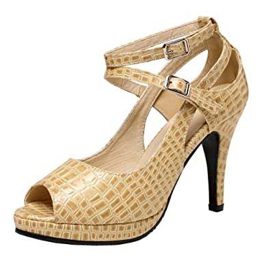 8724e7997d9 getmorebeauty Women s Snake Stripe Ankle Straps Dress Heeled Sandals (5 B(M)  US