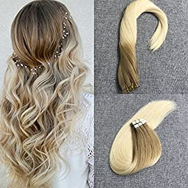 Moresoo Tape in Ombre Hair Extensions Human Glam Seamless Weft Hair Extensions Hair Skin Weft Hair Extensions Seamless Glue in Hair Highlights