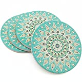 Kidac Coasters for Drinks Absorbent Ceramic Drink Coasters with Protective Cork Base Floral Mandala Pattern (4 Pack 4'')