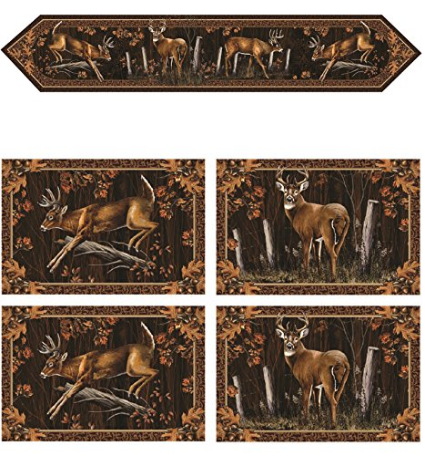 River Runners Edge (Set of Four River's Edge Deer Placemats Bundled with Matching River's Edge Runner, 71