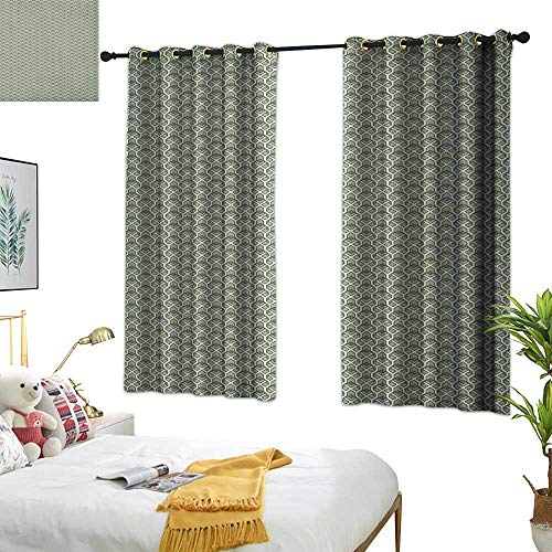 Sage Double Sconce - Warm Family Double Curtain Rod Geometric,Abstract Rhombuses and Stripes Monochrome Composition Vintage Inspirations, Pale Sage Green 84