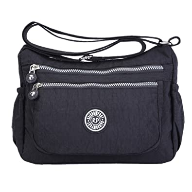 4fb974dadf53 Womens Multi Pocket Casual Handbag Travel Bag Messenger Cross Body Bag  (Black)