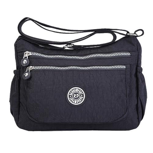 f227b0f6f2 Womens Multi Pocket Casual Handbag Travel Bag Messenger Cross Body Bag  (Black)