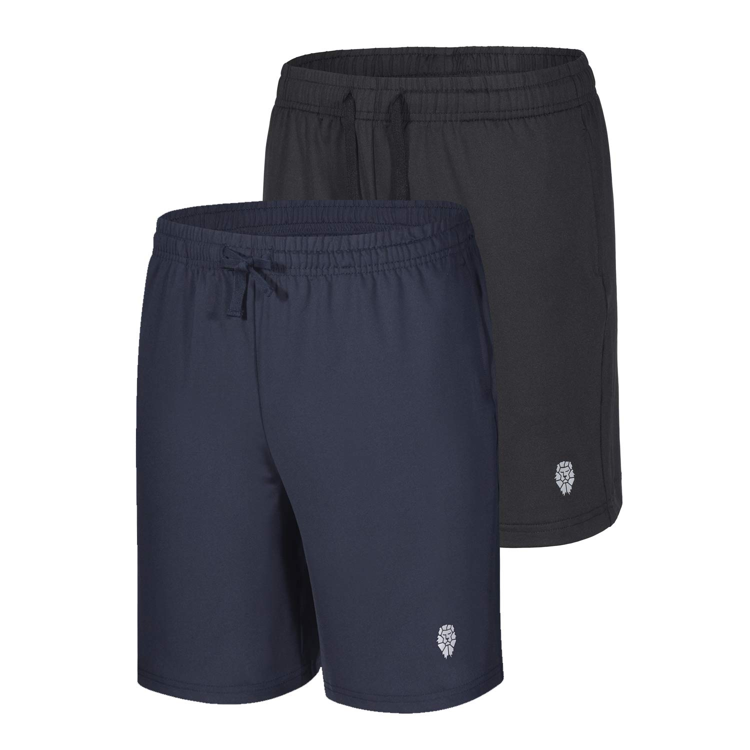 PIQIDIG Youth Boys' Loose Fit Athletic Shorts Quick Dry Active Shorts with Pocket, 2-Pack Black/Navy M by PIQIDIG