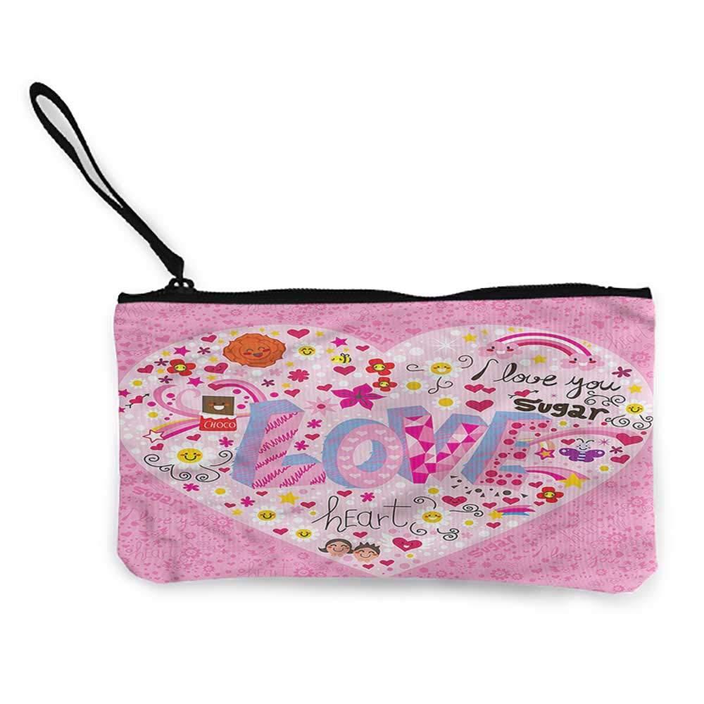 Pencil Bag Pen Case Doodle,Hipster Artistic Shapes,Canvas Print Wallet For Girls,Ladies,Womens