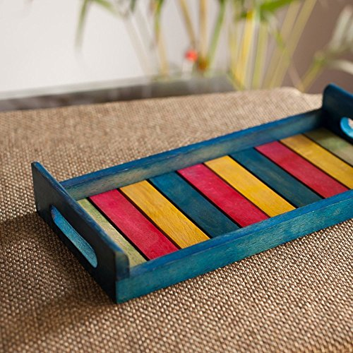Hashcart Indian Handmade & Handcrafted 13x6 inch Wooden Serving Tray for Dining Tableware, Table Décor, Kitchen Serveware Dining Accessory, Breakfast Coffee Table Tray, Butler Serving Trays – Blue (Table Breakfast Centerpieces)