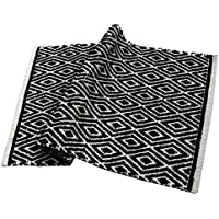 Chardin home 100% cotton Diamond Rug Fully reversible - Mat size 21''x34'', Machine washable, Black & White