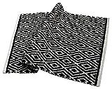 Chardin home 100% cotton Diamond Rug Fully reversible - Mat size 21''x34'', Machine washable, Black & White