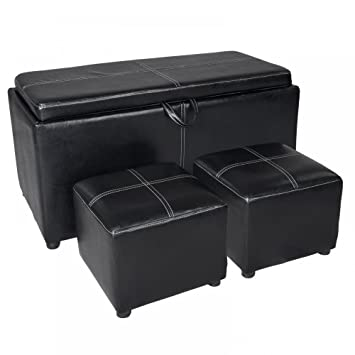 Stupendous Fdw New Black Leather Ottoman With Tray Tops Storage Bench Coffee Table Leather S26 Machost Co Dining Chair Design Ideas Machostcouk