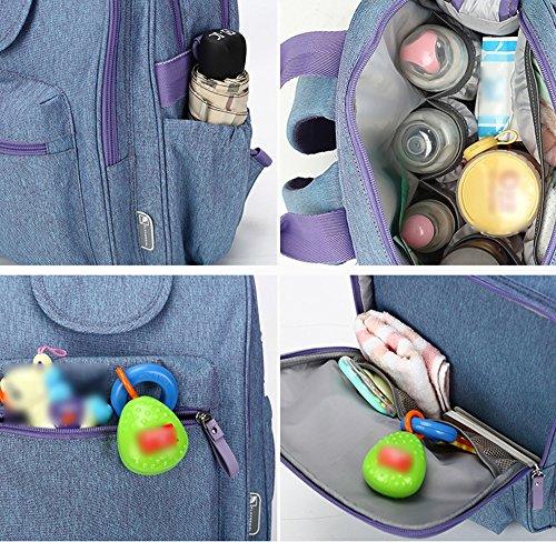 Mummy bolsa de hombro bolsa multifuncional de gran capacidad de luz de la moda de embarazada embarazada materna bebé paquete ( Color : Blue gray ) Azul
