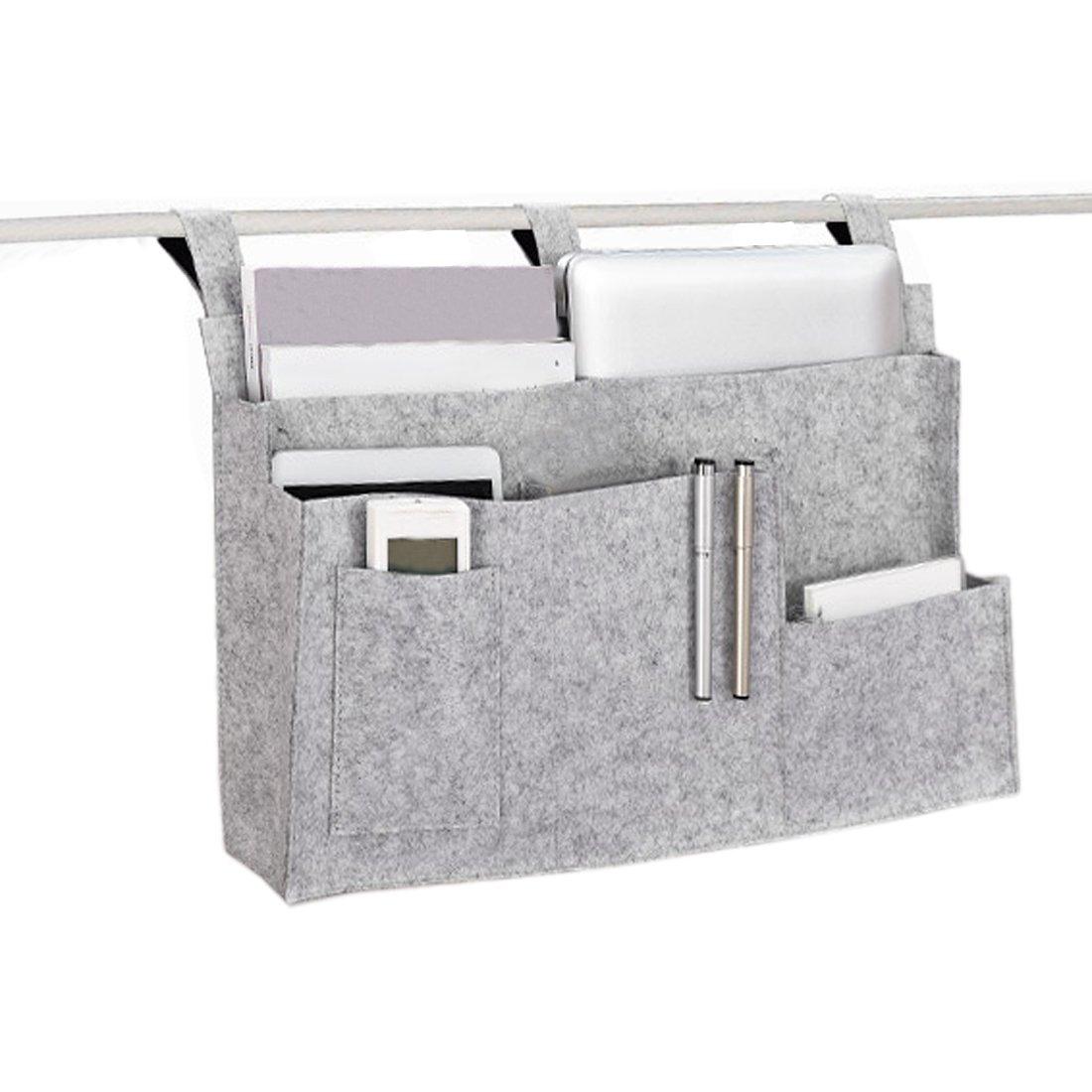 LJNGG Felt Bedside Organizer Bed Hanging Storage Bag with 6 Pockets Dorm Rooms (Gray)