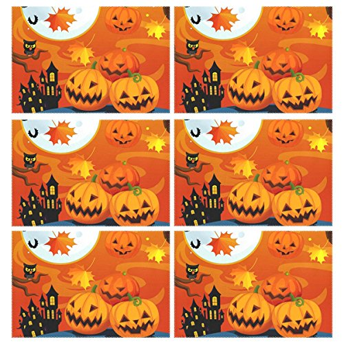 Naanle Halloween Placemats Set of 6, Owl Halloween Pumpkin Castle Non Slip Heat-Resistant Washable Table Place Mats for Kitchen Dining Table Home Decoration, 12