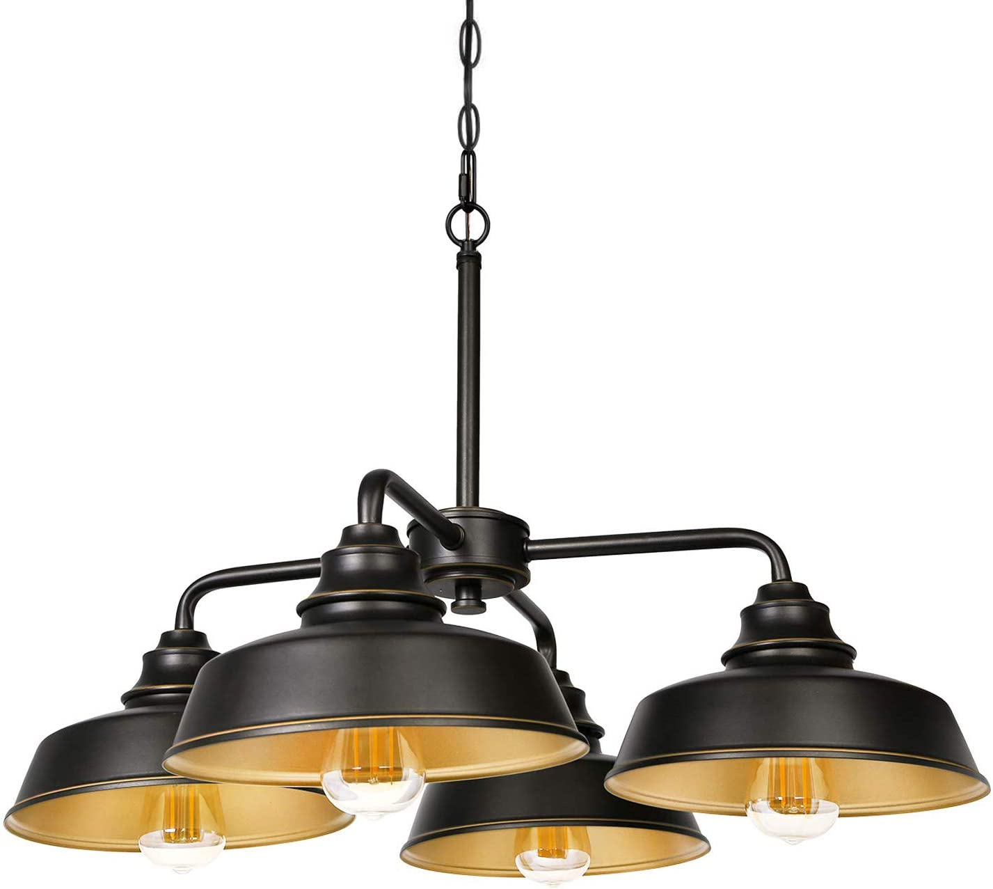 Hykolity 4-Light Chandelier, Oil Rubbed Bronze Vintage Farmhouse LED Dining Room Ceiling Lights Dimmable (Bulbs Included) with ETL Listed for Kitchen, Living Room and Foyer