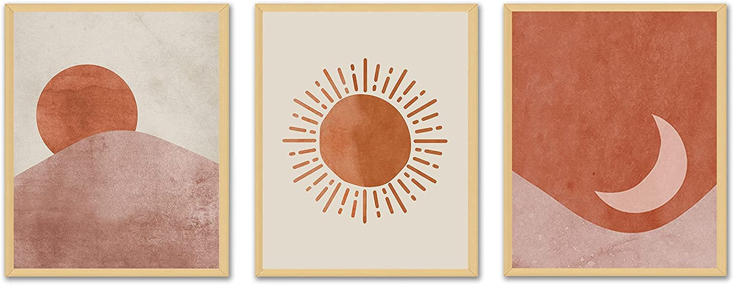 Mid Century Modern Wall art- Boho Posters and Prints Minimalist Wall decor Contemporary Geometric Line Sun Moon Canvas Paintings Aesthetic Pictures for Bedroom Bathroom Living Room Unframed 8X10inches