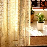 Cheap Fine Lady Crochet Curtains, French Crochet Window Panels, Pair Cotton Crochet Curtains 59 inch by 86 inch Cream