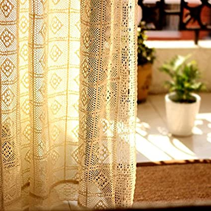Crochet Curtains French Window Panels Pair Cotton 59 Inch By 86