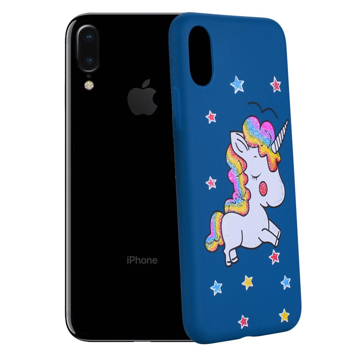 Coque Souple en Silicone Flexible Coque Antichoc 5.5  Pouce Bleu Ticase Licorne Animal Etui pour iPhone 6 Plus // 6S Plus