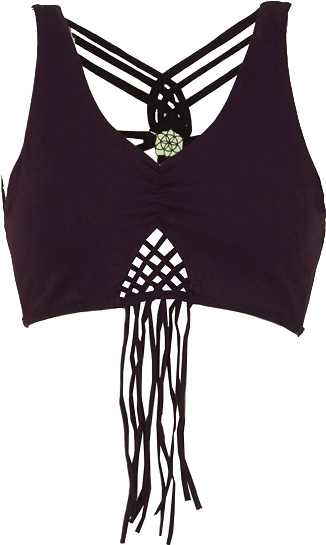 Magliette Top Guru-Shop Nero Fransentop Pixi Top Cotone Dimensione Indumenti:38 Boho Top Goa Psytrance Bikini Top
