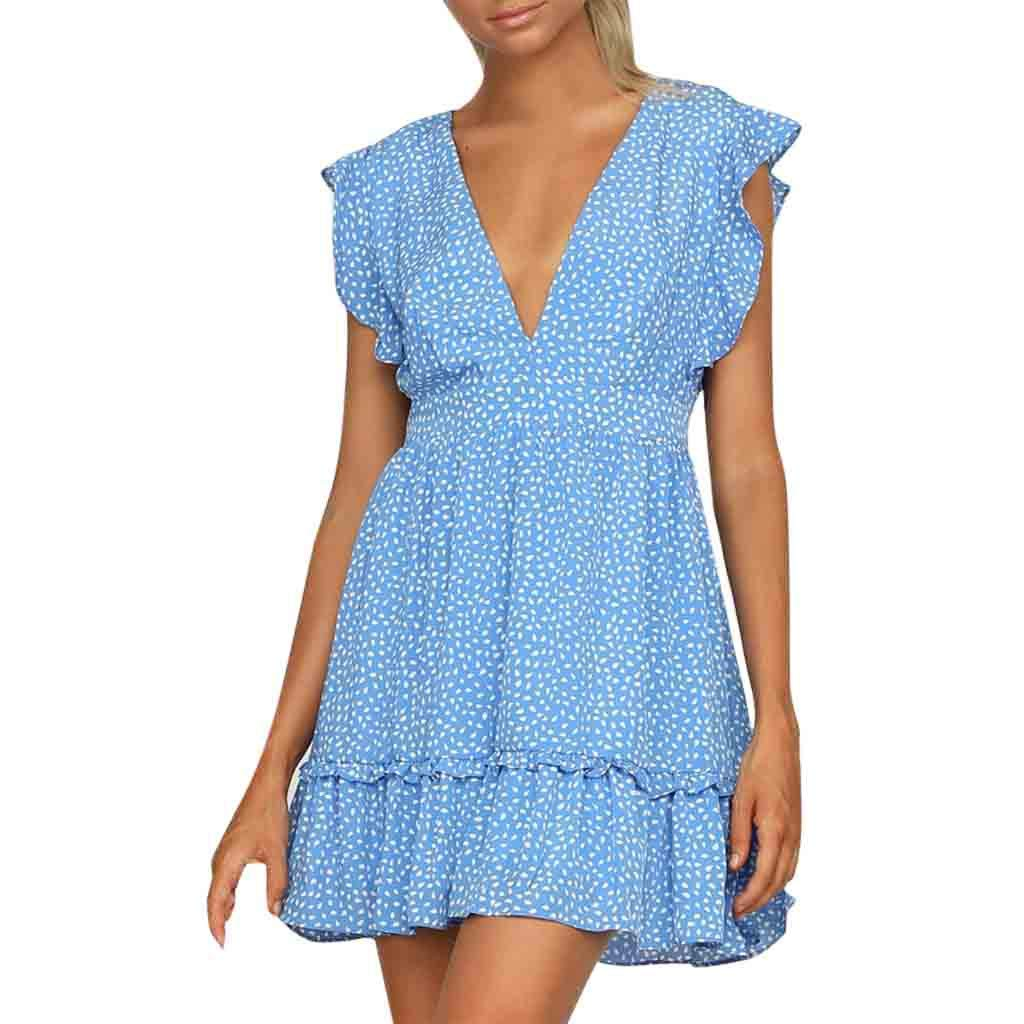 Hattfart Women Summer Sexy Dot Printing V Neck Short Sleeve Dress Wrap Slim Party Dress (M, Blue)
