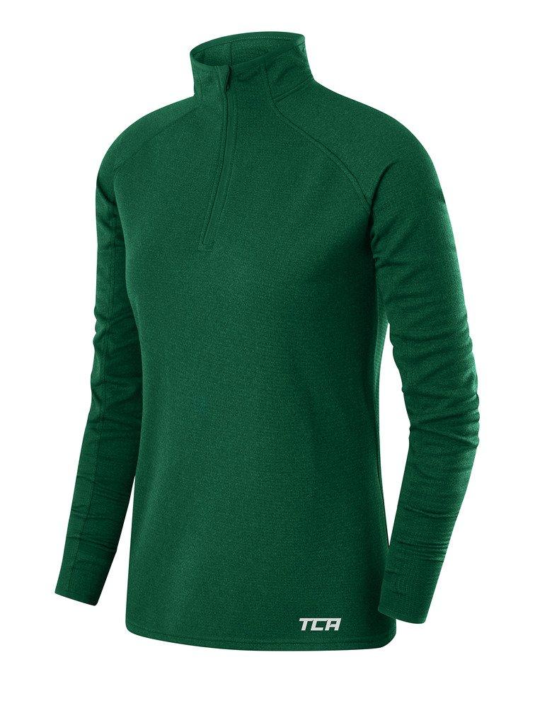 TCA Women's Cloud Fleece ¼ Zip Thermal Running Top with Zip Pocket - Forest Green, X Small