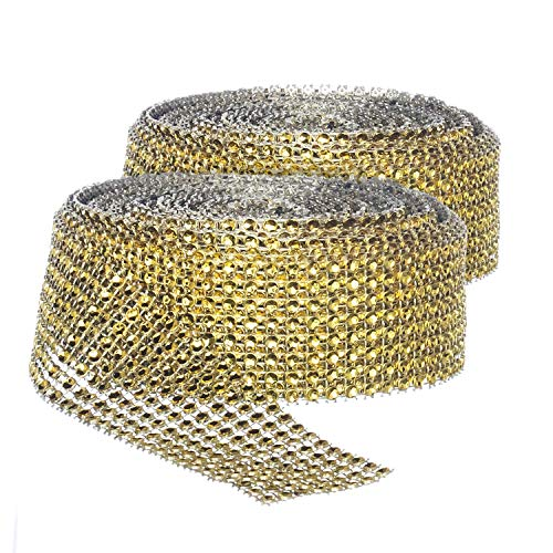 Rose Row 2 Gold - Rhinestone Diamond Bling Wrap Ribbon for Wedding Cake, Party, Holiday & Home Decoration, Gold 8-Rows, (2 Rolls) 10 YDS EA.