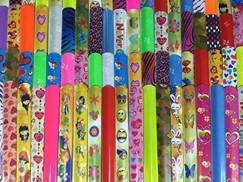 Gingerscoolstuff 35 Slap Bracelets. Kids Boys Girls Party Favors. Animal Prints - Hearts - Solid Colors. Storage Tube Included.