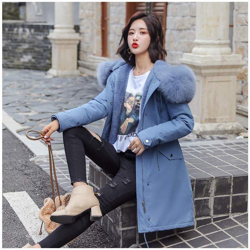 HSDFKD Invernale Donna Cappotto in Cotone con Calda Addensare Cotone Outwear Pie Overcome Loose Ispessimento Lungo da Donna blu