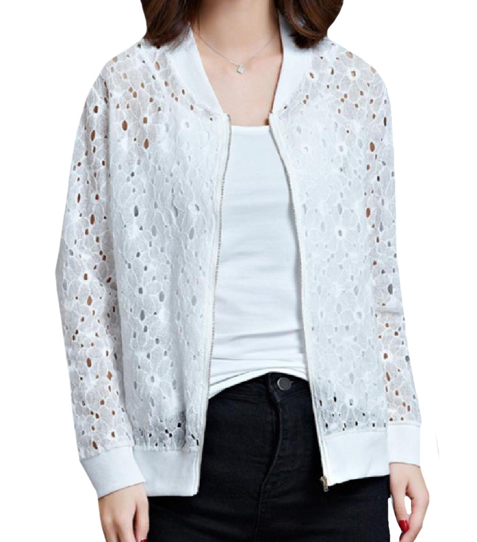 AngelSpace Womens Skinny Plus Size Lace Hem Line Bomber Jacket Coat