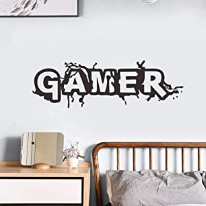 """Gamer Wall Decal Wall Sticker for Boys Bedroom Game Room Wall Mural Children Gift Nursery Home Decoration (Black, 22"""" x 7"""")"""