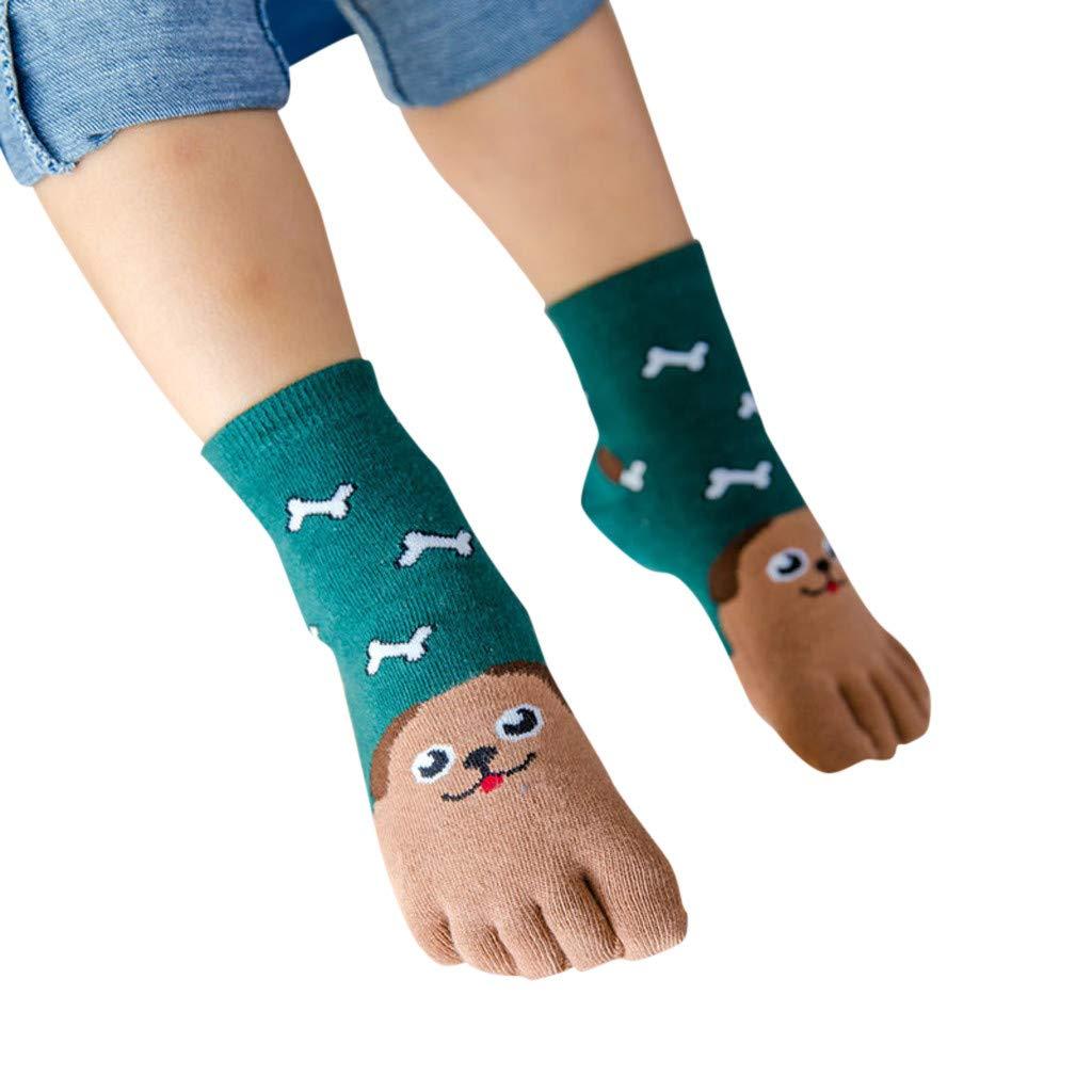 Lostcall Toddler Kids Boys Girl Colorful Novelty Sock Fashion Cotton Cartoon Animal Five Fingers Anti Slip Cotton Socks Green
