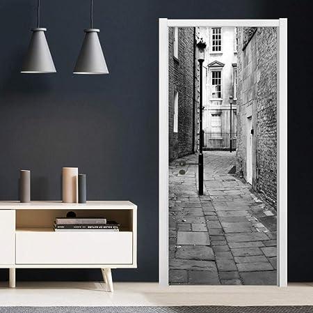 B x H HQDOC 3D Stickers Porte Poster Rue Noir et Blanc Papier Peint Porte Trompe loeil Art Murale D/écoration Stickers Muraux Auto-adh/ésif Imperm/éable Amovible PVC pour La Maison Chambre 77x200cm