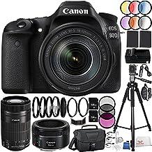 Canon EOS 80D DSLR Camera 39PC Kit - International Version (No Warranty) w/ Canon EF-S 18-135mm f/3.5-5.6 IS USM Lens, Canon EF-S 55-250mm f/4-5.6 IS STM Lens, Canon EF 50mm f/1.8 STM Lens, MORE